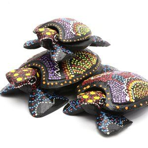 Hand Painted Colorful Sea Turtle Figurines Set